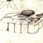 Skizze »springender Stein«